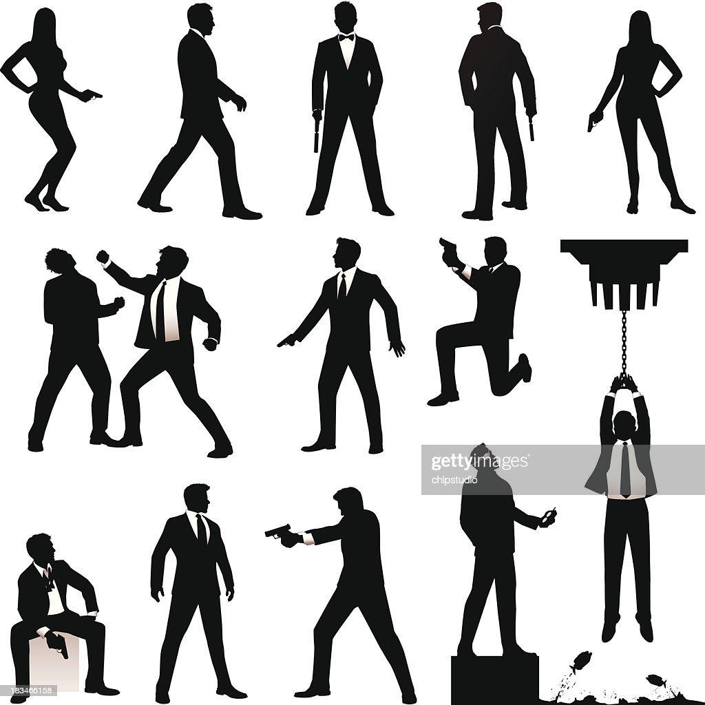 Spy Silhouettes : stock illustration