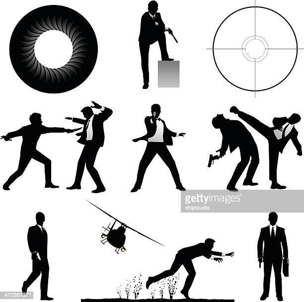 ilustraciones, imágenes clip art, dibujos animados e iconos de stock de espías - stealth
