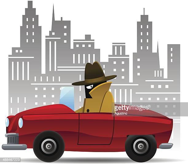 ilustraciones, imágenes clip art, dibujos animados e iconos de stock de spy con automóvil - detective
