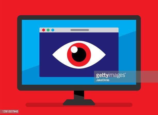 ilustraciones, imágenes clip art, dibujos animados e iconos de stock de icono de spyware flat - deep web