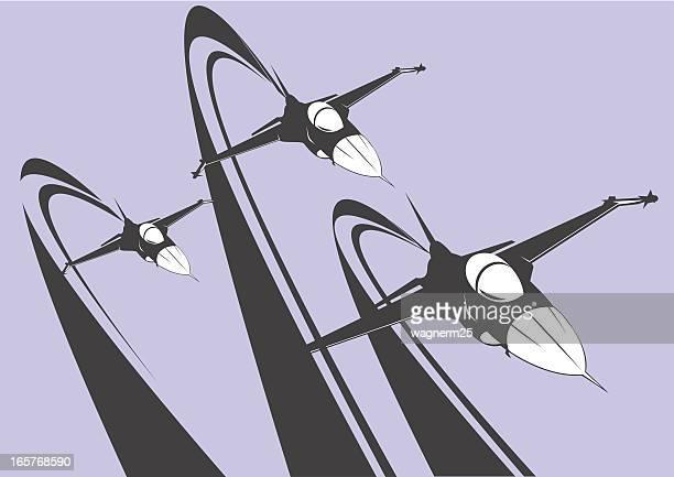 f-16 squadron - falcons stock illustrations, clip art, cartoons, & icons