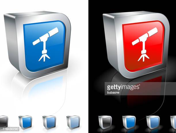 square 3-d buttons with telescope icon and metallic border. - voyeurism stock illustrations, clip art, cartoons, & icons