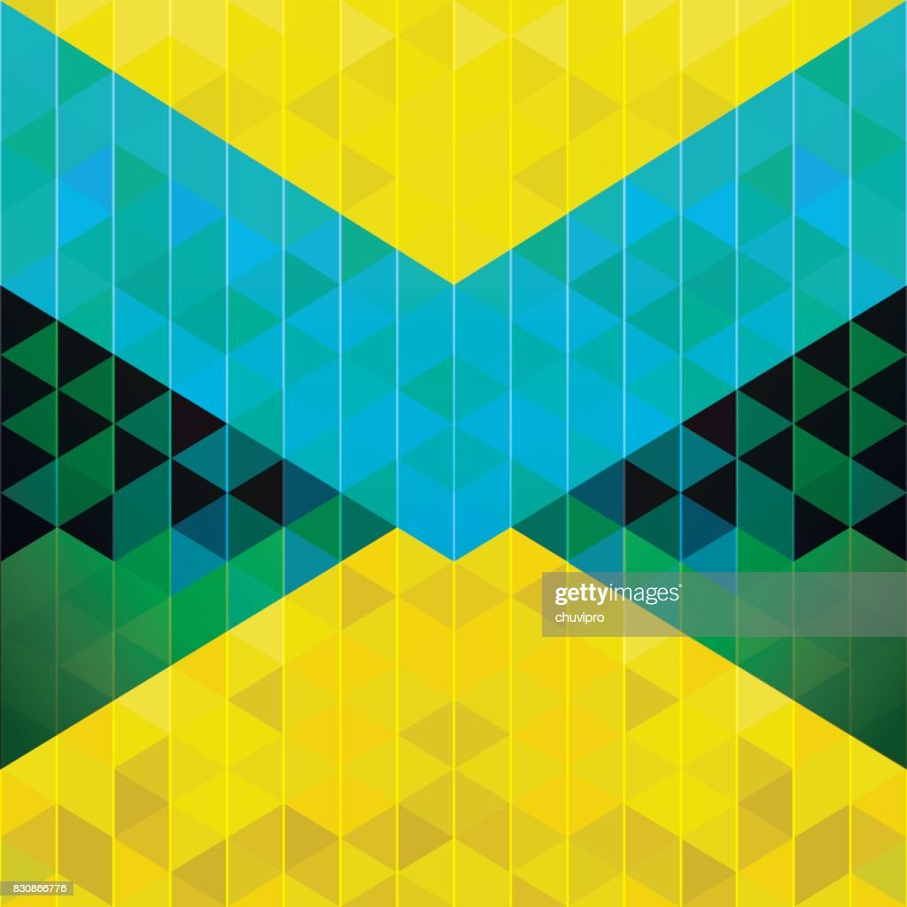 Square abstract triangle geometric neon background - Blue, Yellow, Green, Black