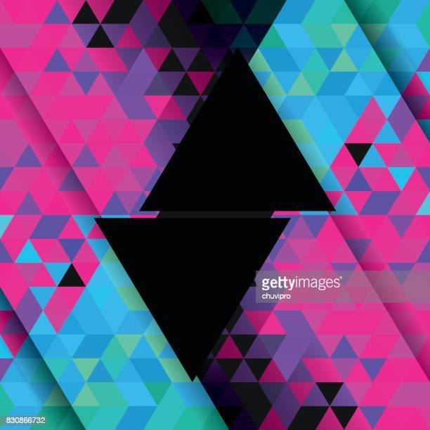 Square abstract triangle geometric neon background - Pink, Blue, Turquoise colored