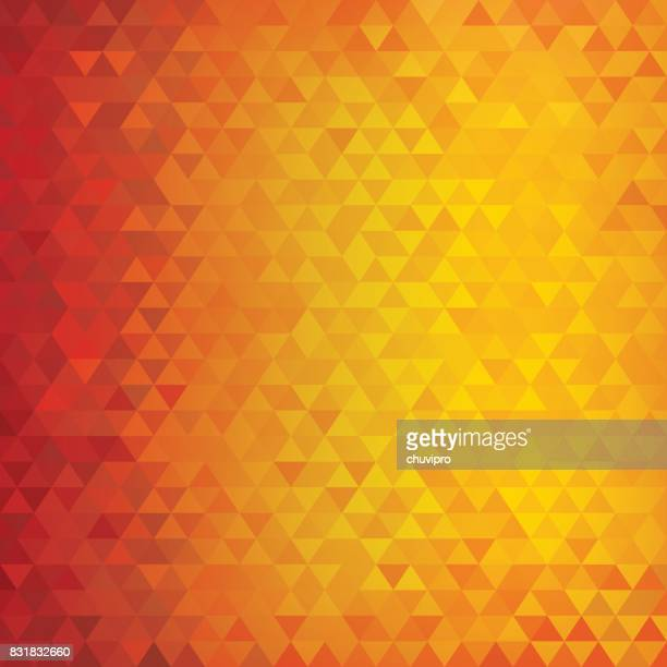 Square abstract triangles geometric background - Red, Orange, Yellow