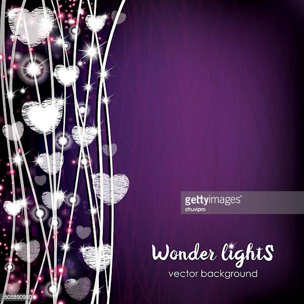 Square background with a rope lights and hears