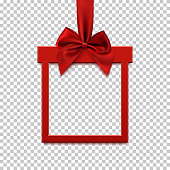 Square banner in form of gift with red ribbon and bow.