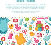 Square  banners with horizontal childhood's and infant patterns. Newborn staff for decorating flyers. Design templates for card, invitation with clothes, toys, accessories for babies shower. Vector.