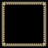 Square border with 3d embossed effect. Ornate luxurious golden frame in art deco style on black background. Elegant decorative label design