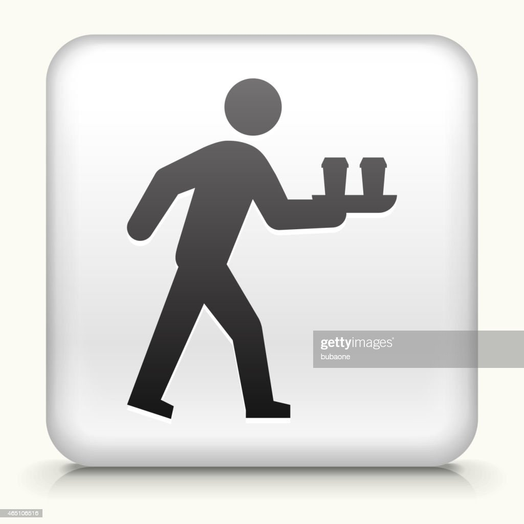 Square Button Stick Figure Bringing Coffee royalty free vector art : stock illustration