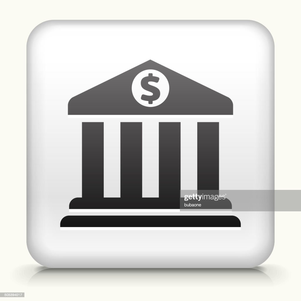 Square Button with Bank royalty free vector art