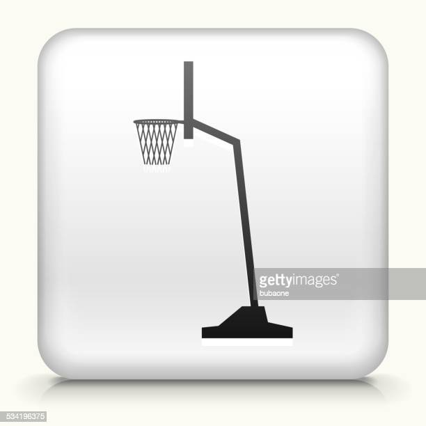 Square Button with Basketball Hoop