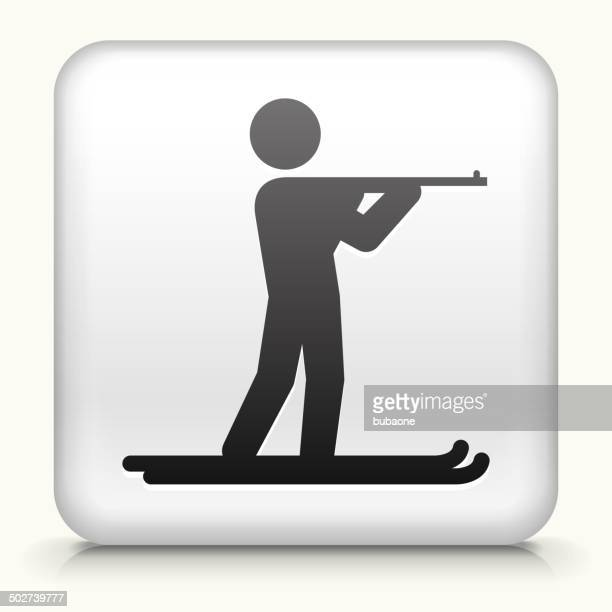 stockillustraties, clipart, cartoons en iconen met square button with biathlon royalty free vector art - military
