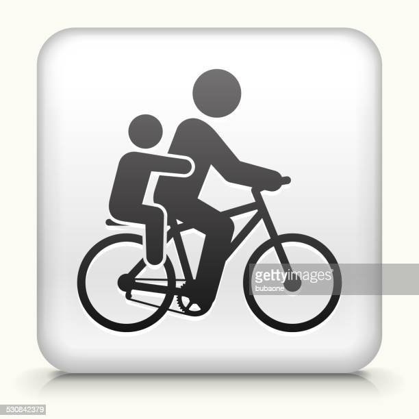 Square Button with Biking Family
