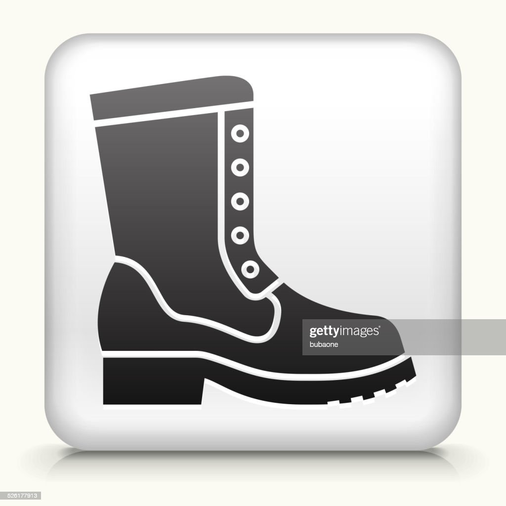 Square Button with Boot royalty free vector art