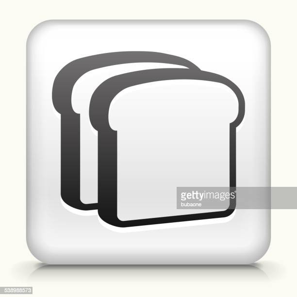 square button with bread slices royalty free vector art - toast bread stock illustrations, clip art, cartoons, & icons