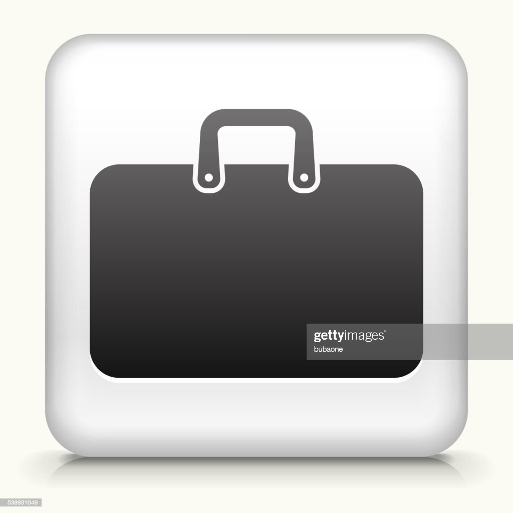 Square Button with Briefcase royalty free vector art