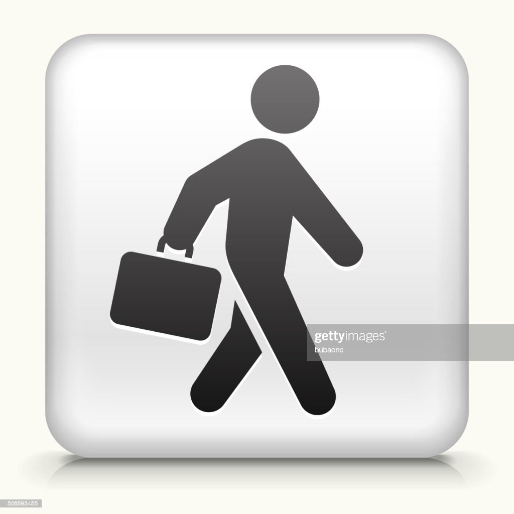 Square Button with Briefcase Stick Figure royalty free vector art