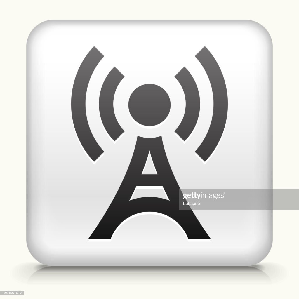 Square Button with Broadcasting Tower royalty free vector art
