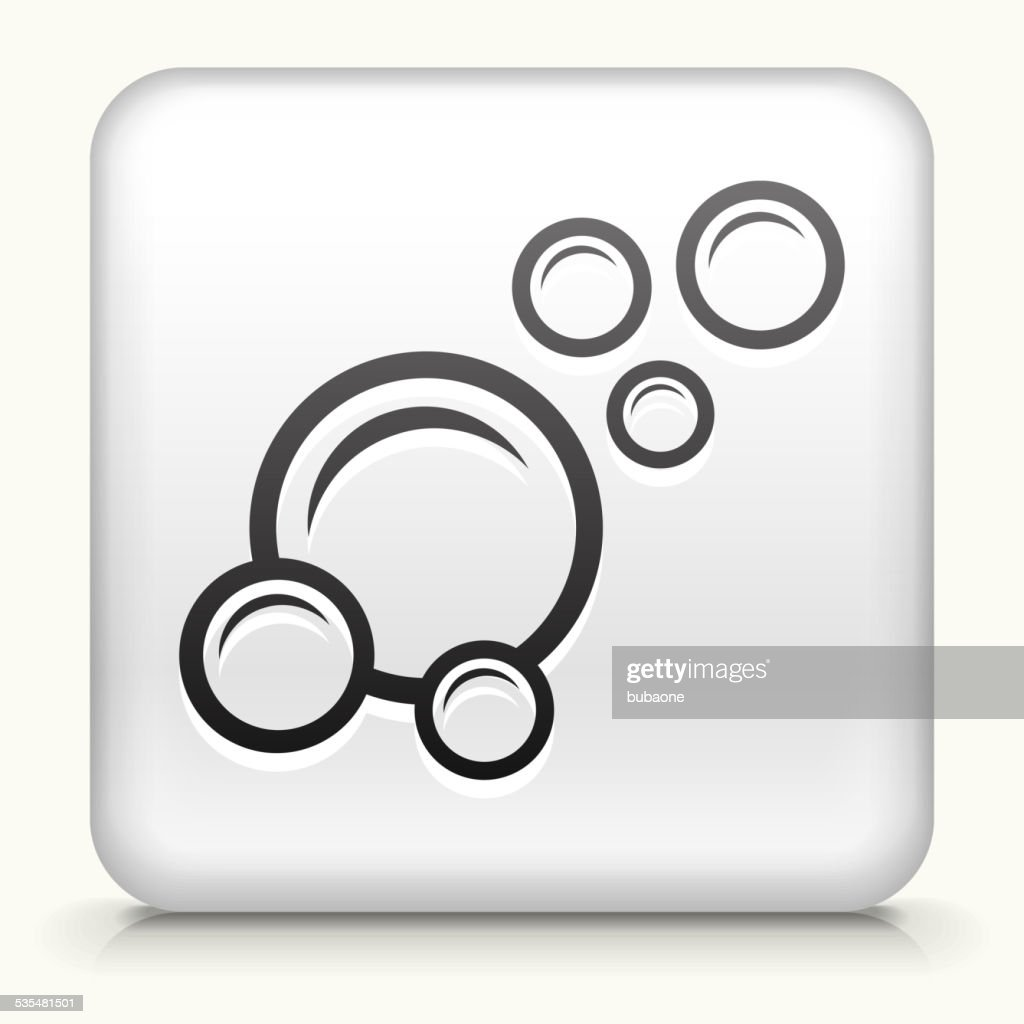 Square Button with Bubbles royalty free vector art