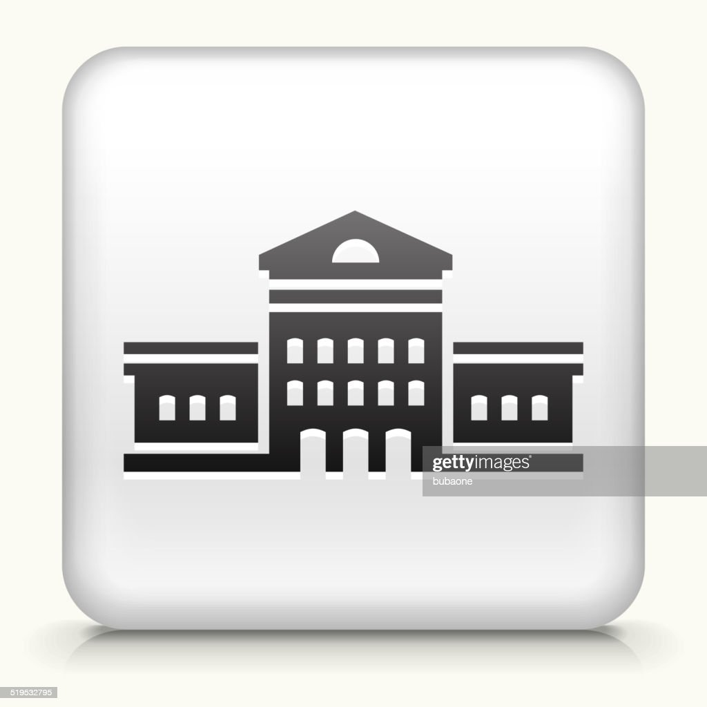 Square Button with Building royalty free vector art