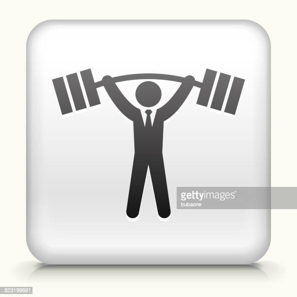 Square Button with Businessman Lifting Weights