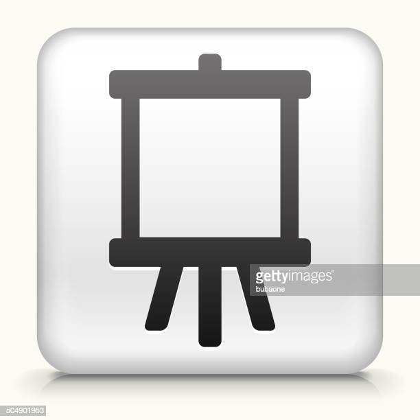 Square Button with Canvas royalty free vector art