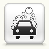 Square Button with Car Wash royalty free vector art