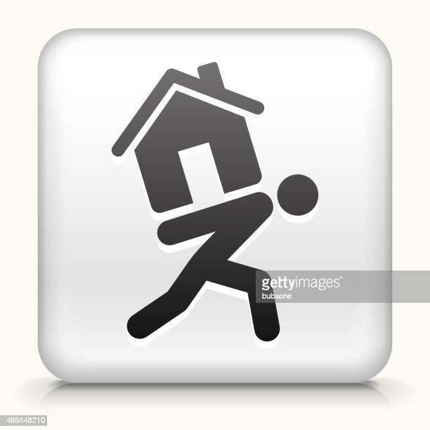 square button with carrying home royalty free vector art - legal document stock illustrations, clip art, cartoons, & icons