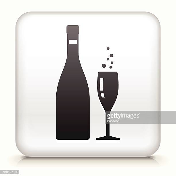 square button with champagne bottle & glass - champagne region stock illustrations, clip art, cartoons, & icons