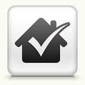 Square Button with Checked House royalty free vector art