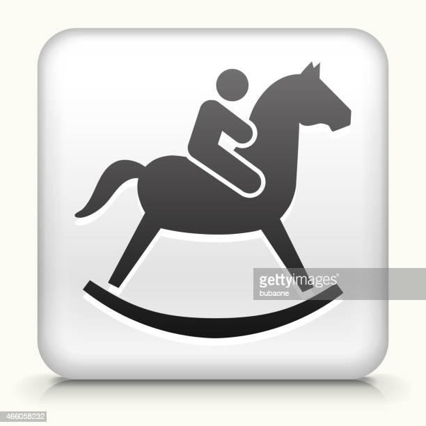 Botão Quadrado com criança em um cavalo de Brinquedo