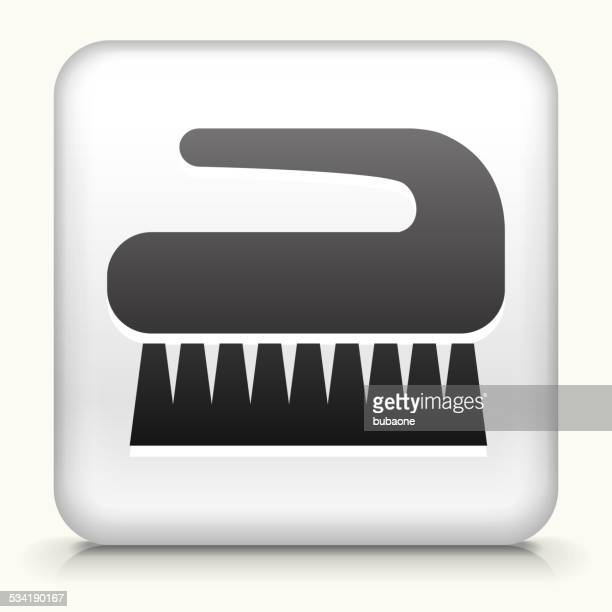 square button with cleaning brush royalty free vector art - toilet brush stock illustrations, clip art, cartoons, & icons