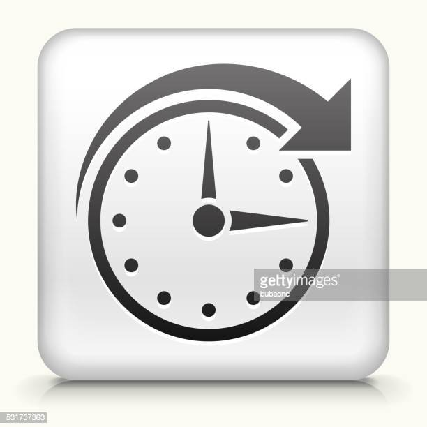 Square Button with Clock Time royalty free vector art
