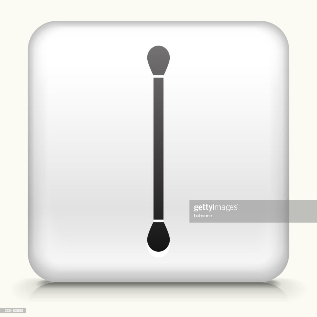 Square Button with Cotton Swab royalty free vector art