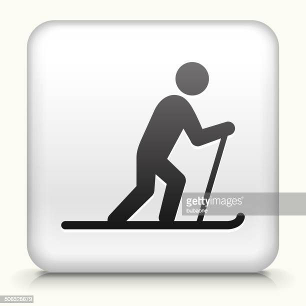 stockillustraties, clipart, cartoons en iconen met square button with cross country skiing royalty free vector art - military