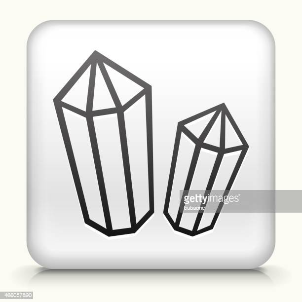 Square Button with Crystal & Minerals royalty free vector art