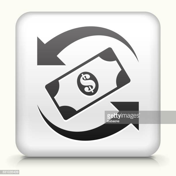 Square Button with Dollar Exchange royalty free vector art