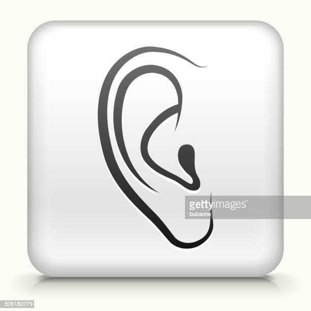 ilustraciones, imágenes clip art, dibujos animados e iconos de stock de botón cuadrado con orejas de arte vectorial libre de derechos - oreja humana