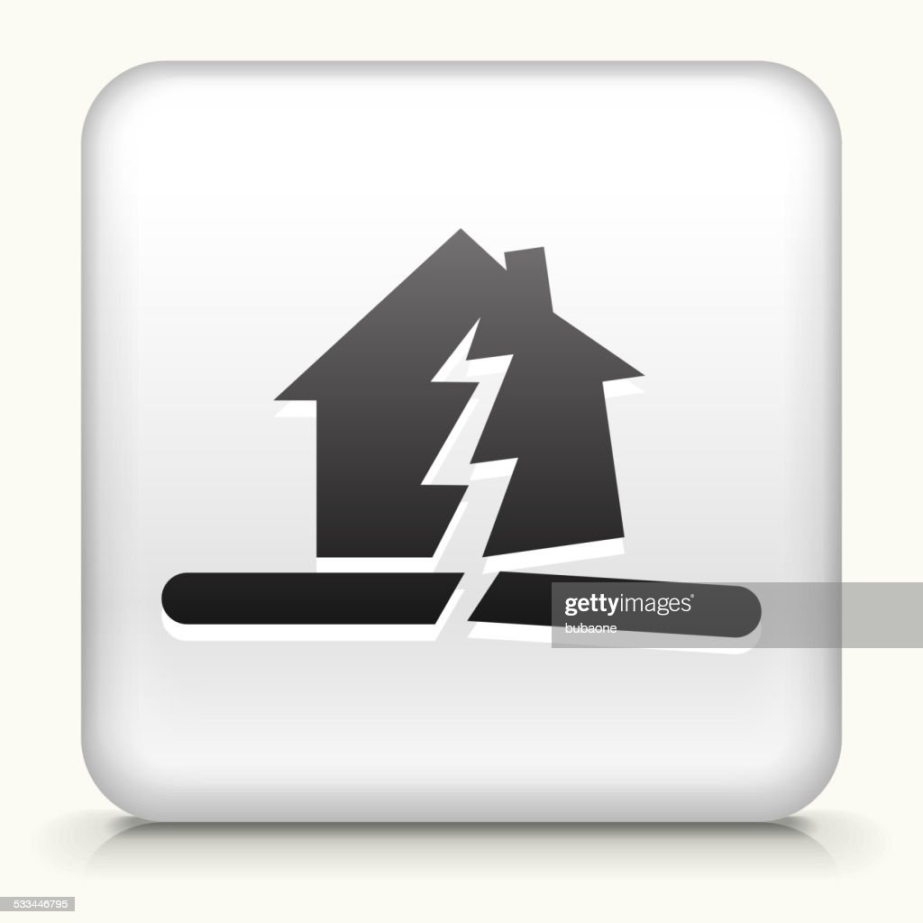 Square Button with Earthquake royalty free vector art