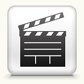Square Button with Film Clapper Board royalty free vector art