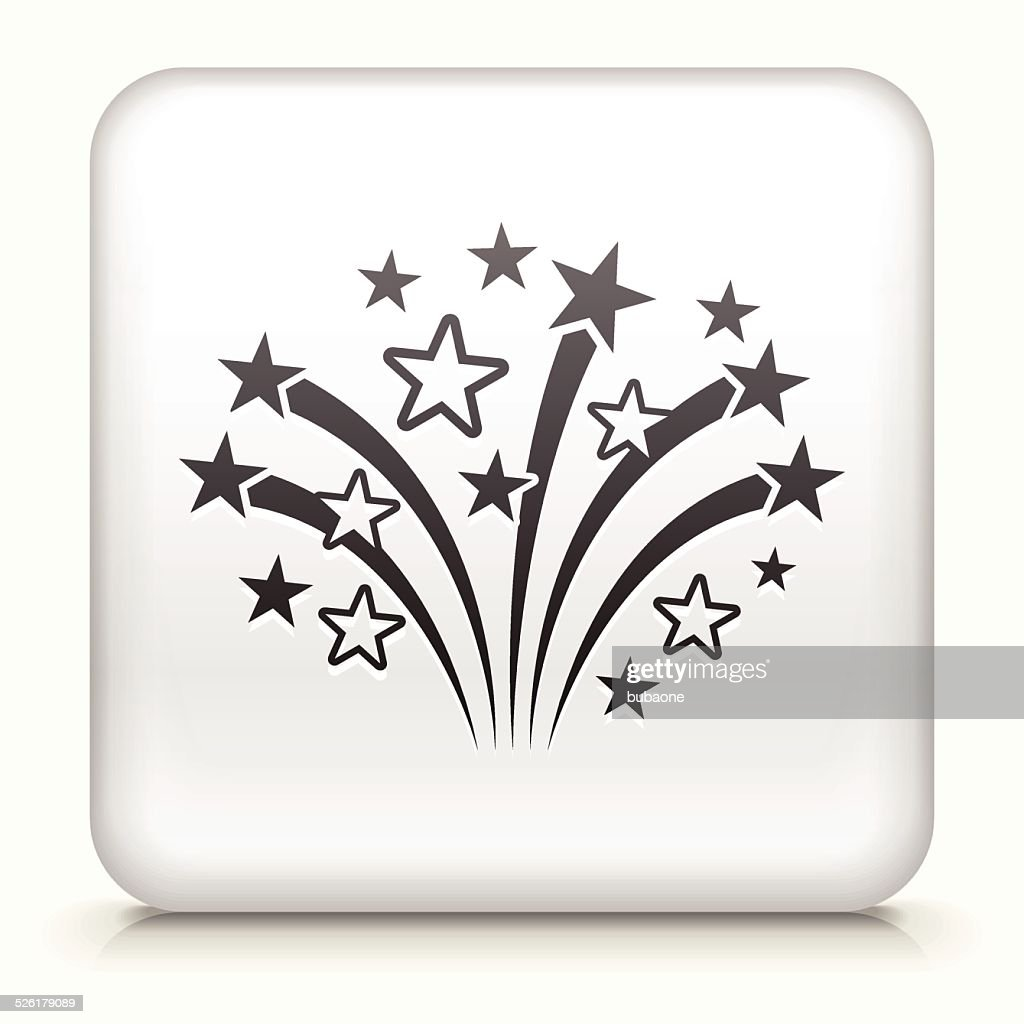 Square Button with Fireworks royalty free vector art