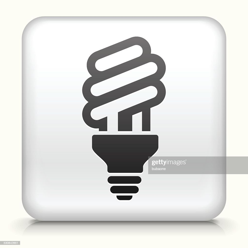 Square Button with Fluorescent Light Bulb