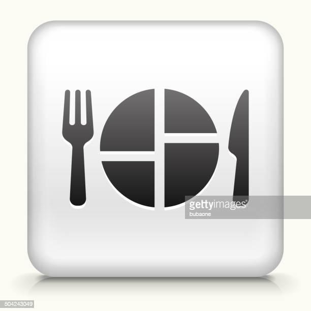 Bouton carré avec une cuisine servant vectorielles libres de droits