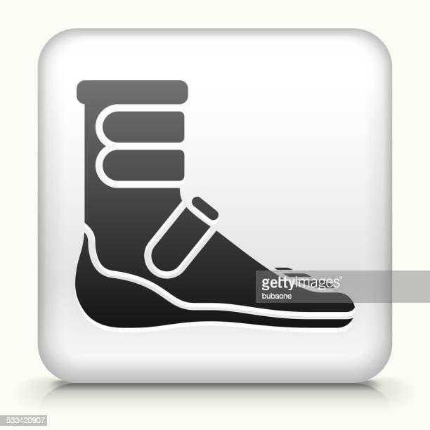 Square Button with Foot Cast Boot