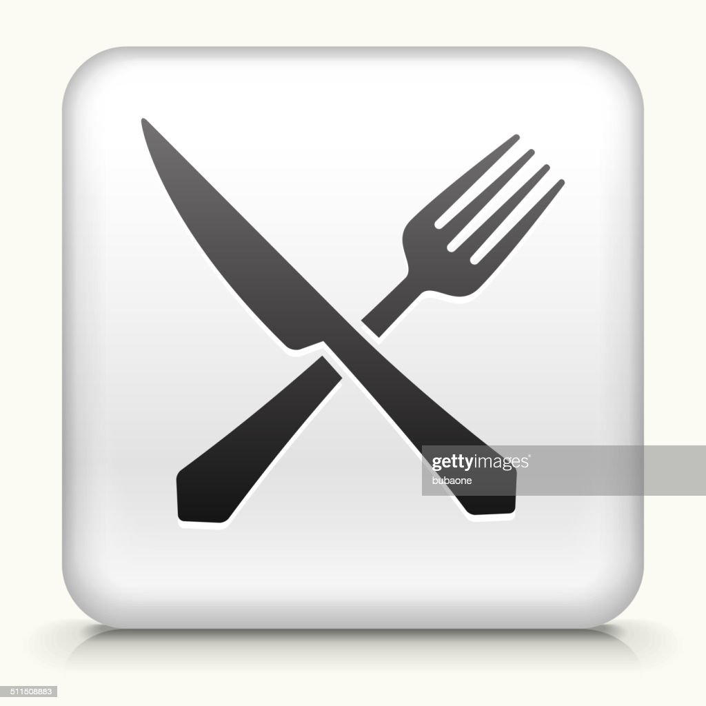 Square Button with Fork and Knife