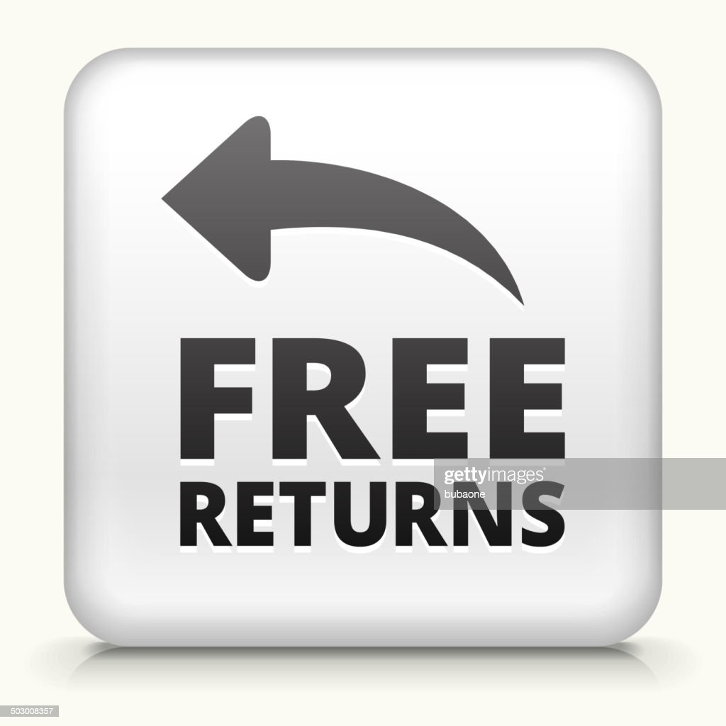 Square Button with Free Returns royalty free vector art