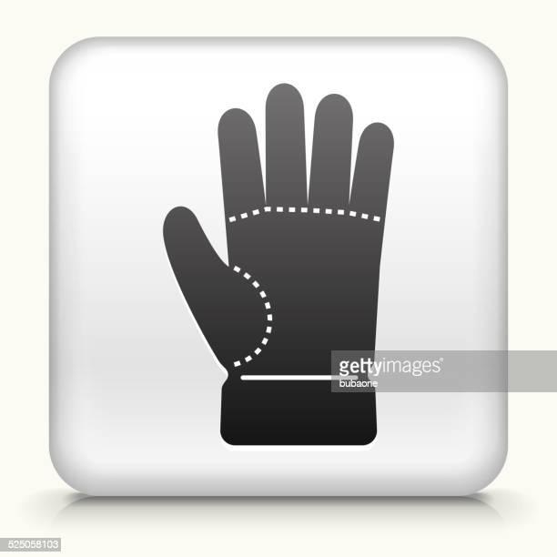 stockillustraties, clipart, cartoons en iconen met square button with glove royalty free vector art - handschoen