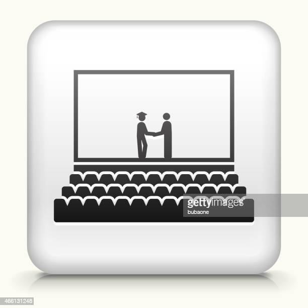 Square Button with Graduation royalty free vector art