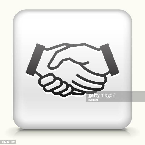 Square Button with Handshake royalty free vector art